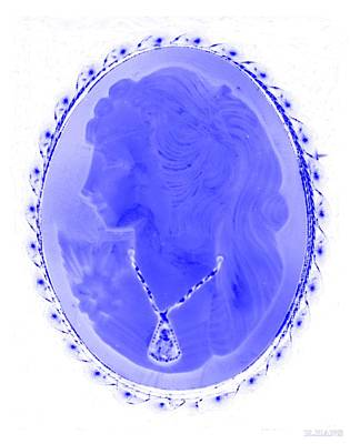 Cameo In Negative Blue Poster by Rob Hans