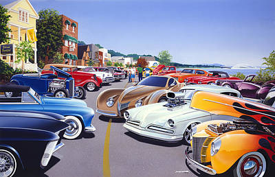Car Show By The Lake Poster by Bruce Kaiser