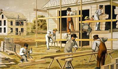 Carpenters At Work Building Two Houses Poster by Everett