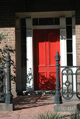 Charleston Red Door - Red White Black Door With Iron Gate Posts Poster by Kathy Fornal