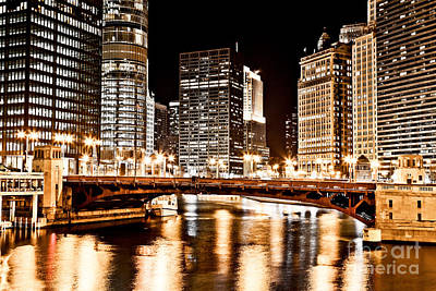 Chicago At Night At State Street Bridge Poster by Paul Velgos