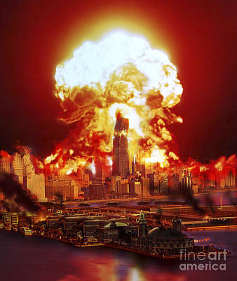 Chicago Disintegrates As A Nuclear Poster by Ron Miller