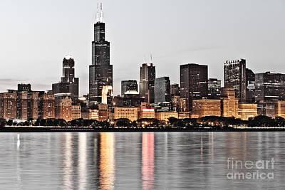 Chicago Skyline At Dusk Photo Poster by Paul Velgos