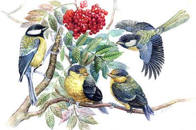 Chickadee Birds Poster by Darya Tsaptsyna