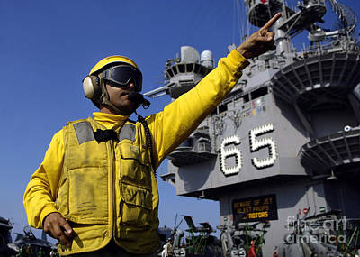 Chief Aviation Boatswains Mate Directs Poster by Stocktrek Images