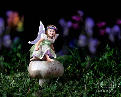 Child Fairy On Mushroom Poster by Cindy Singleton