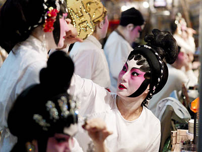 Chinese Opera Performers Prepare Poster by Justin Guariglia