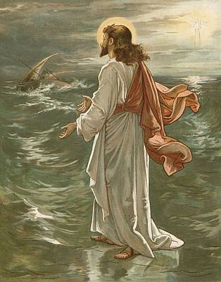 Christ Walking On The Waters Poster by John Lawson