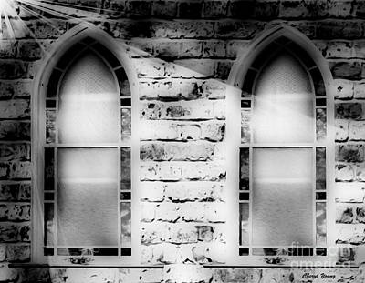 Church Windows Bw Poster by Cheryl Young
