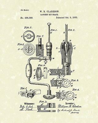 Clarkson Bit Brace 1883 Patent Art  Poster by Prior Art Design