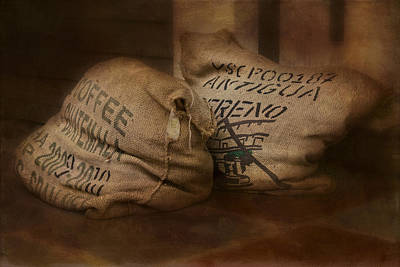 Coffee Beans In Burlap Bags Poster by Susan Candelario