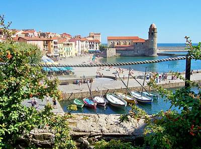 Collioure From Knights Of Templar Castle Poster by Marilyn Dunlap