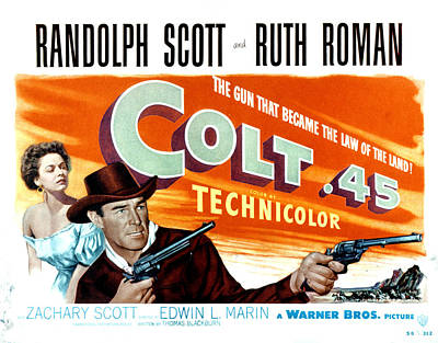 Colt .45, Ruth Roman, Randolph Scott Poster by Everett
