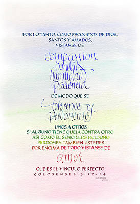 Compassion And Amor Poster by Judy Dodds