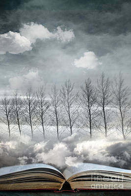 Conceptual Image Of Open Book With Floating Clouds And Trees Poster by Sandra Cunningham