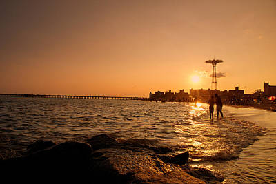 Coney Island Beach Sunset - New York City Poster by Vivienne Gucwa