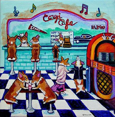 Corgi Soda Shop Romance Poster by Lyn Cook