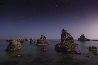Costa Brava Night Poster by Xose Casal Photography