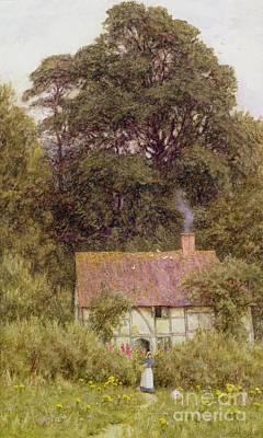 Cottage Near Brook  Poster by Helen Allingham