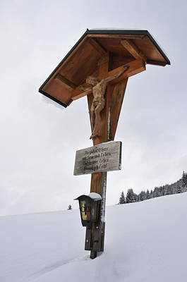 Crucifix In Winter Landscape Poster by Matthias Hauser