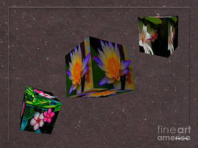 Cubed Floral Poster by Cheryl Young