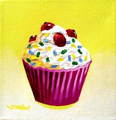 Cupcake With Cherries Poster by John  Nolan