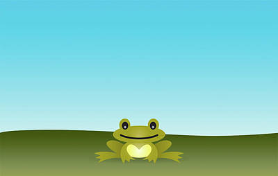 Cute Frog Sitting On The Grass Poster by © Roctopus