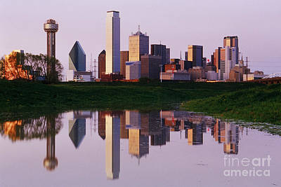 Dallas Skyline Reflected In Pond At Dusk Poster by Jeremy Woodhouse
