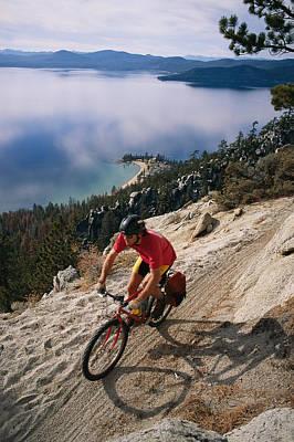 Dan Mccoy Biking The Flume Trail Poster by Rich Reid
