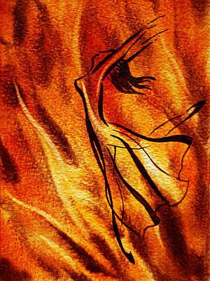 Dancing Fire Vi Poster by Irina Sztukowski