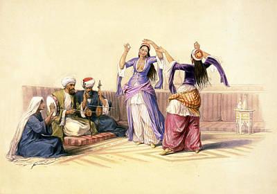 Dancing Girls At Cairo Poster by Munir Alawi