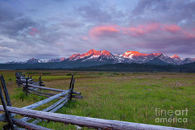 Dawn Light On The Sawtooth Mountains Poster by Keith Kapple