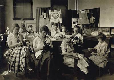Deaf-mute Girls Sewing And Darning Poster by Everett