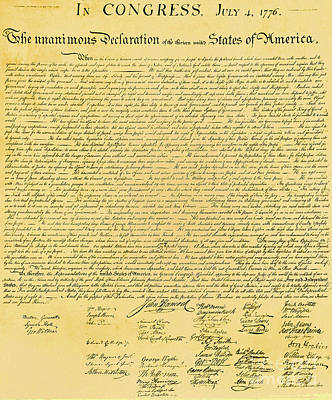 Declaration Of Independence Poster by Photo Researchers
