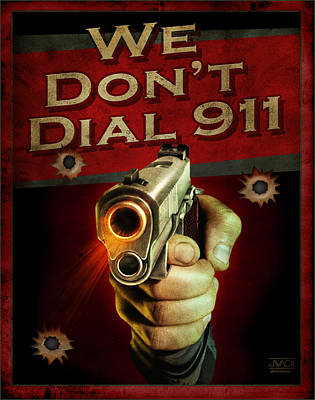 Forty Poster featuring the painting Dial 911 by JQ Licensing