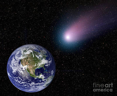 Digital Composite Of A Comet Heading Poster by Stocktrek Images