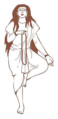 Digital Illustration Of Hindu Goddess Parvati Standing On One Leg And Holding Prayer Beads Poster by Dorling Kindersley