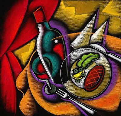 Dinner With Wine Poster by Leon Zernitsky