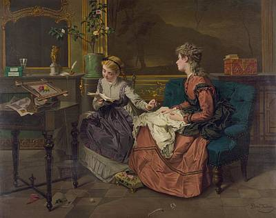 Domestic Scene With Two Girls, One Poster by Everett