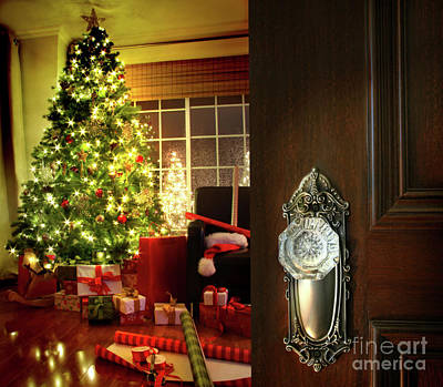 Door Opening Into A Christmas Living Room Poster by Sandra Cunningham
