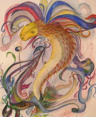 Dragon And Ribbons Poster by Marian Hebert