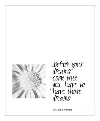 Dreams Come True Quote Poster by Kate McKenna