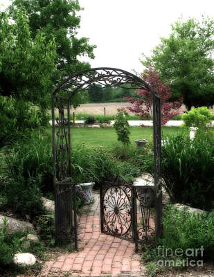 Dreamy French Garden Arbor And Gate Poster by Kathy Fornal