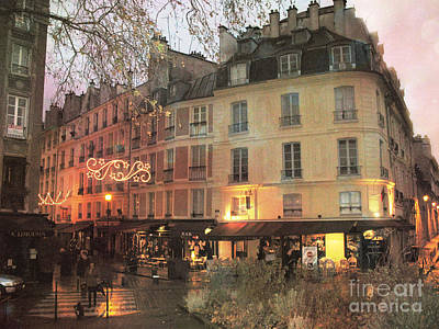 Paris Cafe Street Scene - Dreamy Romantic Paris Night Street Scene Poster by Kathy Fornal