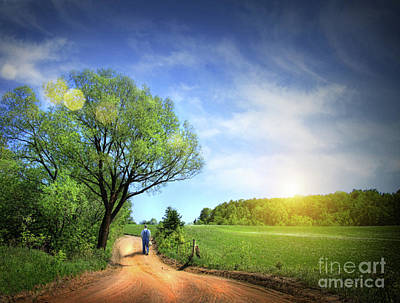Dusty Road On A Beautiful Spring Day Poster by Sandra Cunningham