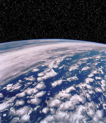 Earth With Starfield Poster by Nasa