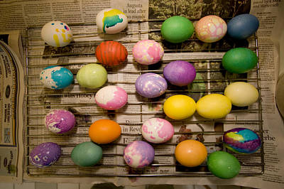 Easter Eggs Drying On A Rack Poster by Tim Laman