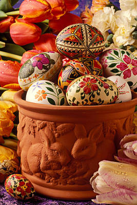 Easter Eggs In Flower Pot Poster by Garry Gay