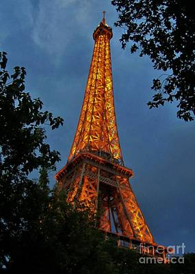 Eiffel Tower At Night Poster by John Malone