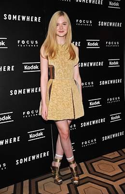 Elle Fanning Wearing A Rodarte Dress Poster by Everett